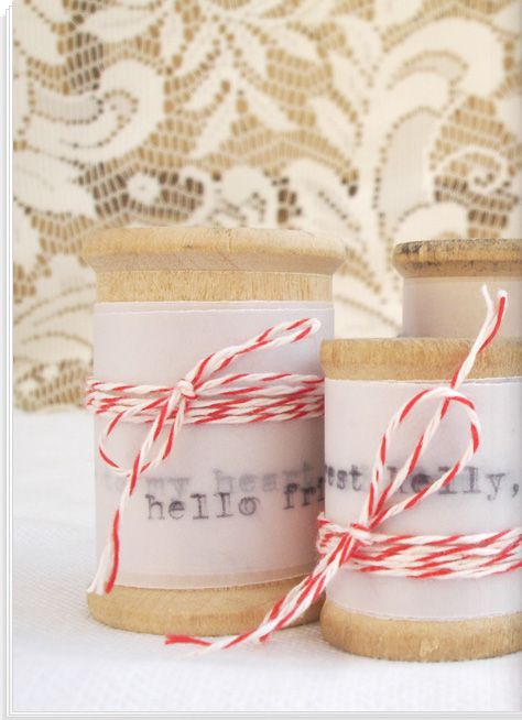 Notes to a friend or family wrapped on a spool.  Fun!