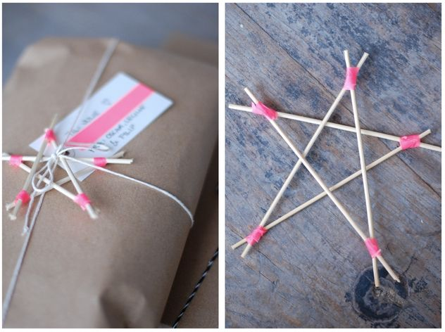 Toothpick Stars - Christmas Crafts. Could also cover in glue and cover with glitter.