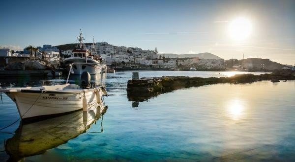 Winter light in Paros island, port of Naoussa