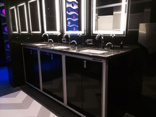 Found some moduline cabinets in use for a bathroom in a for Bathroom cabinets miami
