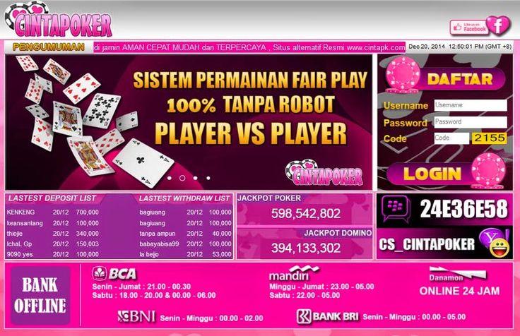 Temukan keseruan bermain poker online bersama cintapoker.com. Poker online yang mendukung pembayaran lewat Bank BCA, BNI, BRI, Bank Danamon dan Bank Mandiri. cintapoker.com menghadirkan permainan Poker, Domino 99, Capsa Susun, AduQ (Poker, QQ, Ceme, BlackJack). Dapat bermainan langsung pada situs/ website ataupun download aplikasi untuk android, ipone dan ipad. http://duniaonlineoke.blogspot.sg/2015/07/cintapokercom.html