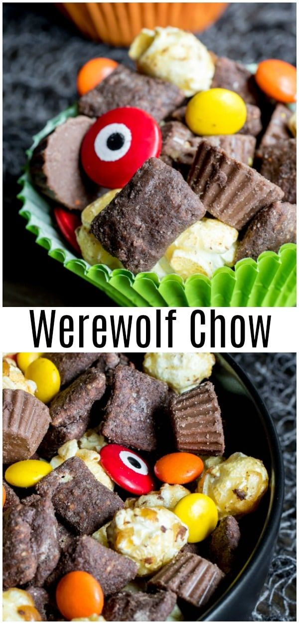 Werewolf Chow Is Homemade Halloween Puppy Chow Or Muddy Buddies Made With Crispy Peanut Butter Easy Halloween Food Halloween Puppy Halloween Food For Party