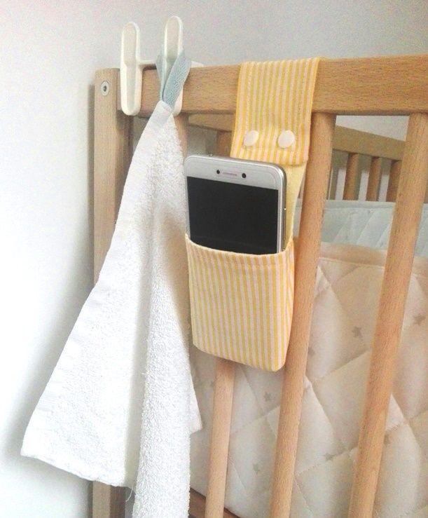 Mobiltelefontartó babágyra - Mobile holder sewn for the babycot.
