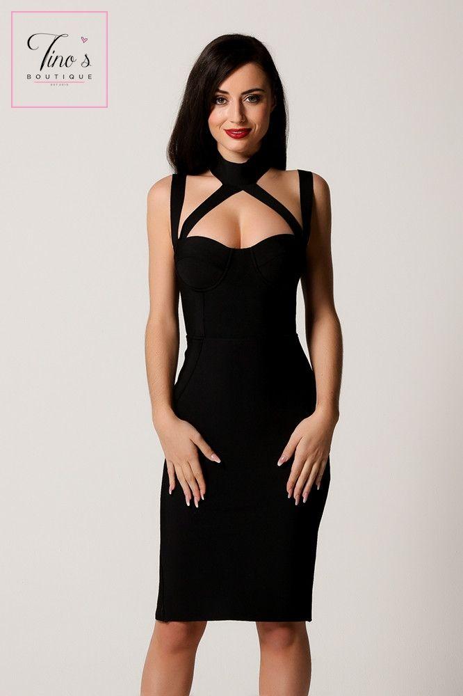 'Amber' Black Crossover Detail Bandage Dress