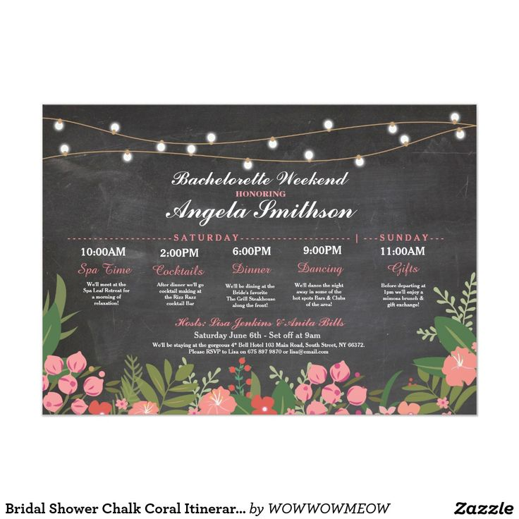 invitation words forst birthday party%0A Bridal Shower Chalk Coral Itinerary Bachelorette Card