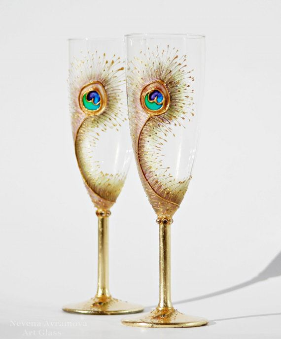 peacock feathers wedding toasting champagne flutes hand paintedset of 2