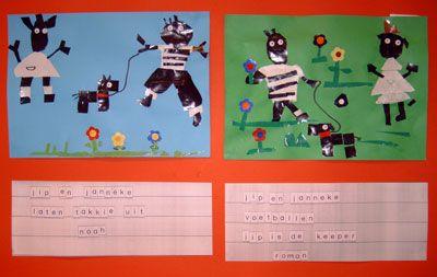 * Jip & Janneke: Knippen/plakken. Daarna met   letters, van evt de letterdoos, woorden laten maken, kopiëren en eronder plakken!