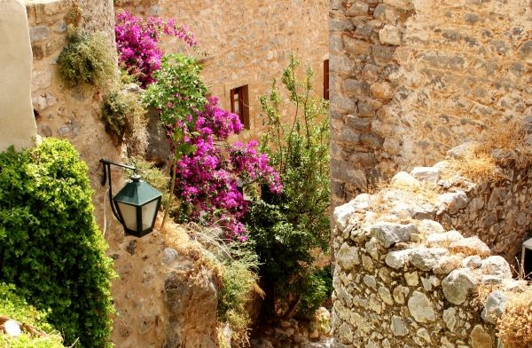 Light and flowers in the Castle of Monemvasia