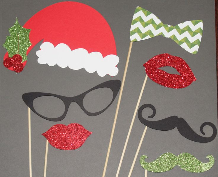 Fun Ideas For Company Christmas Parties Part - 26: Items Similar To 8 Piece Christmas Photo Booth Props, Mustache Party, Lips,  Wedding Photo Booth, Props On A Stick Circus Carnival - F On Etsy