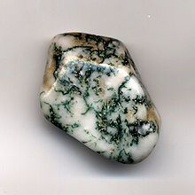 Moss Agate is a form of agate which includes minerals of a green color embedded in the chalcedony, forming filaments and other patterns suggestive of moss.