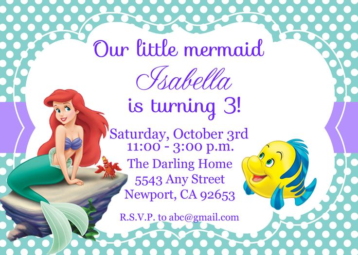 the little mermaid invitation ariel disney princess kids birthday party invite birthday invitation - Little Mermaid Party Invitations