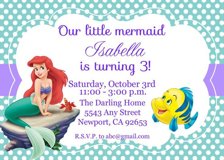 flounder the little mermaid birthday invitations