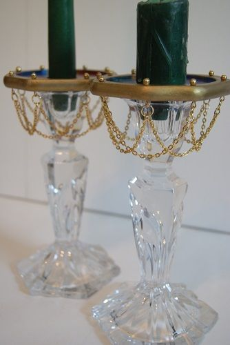 Hand Painted Wooden Bobeche and gold chain | ReallyCoolNutcrackers - Candles on ArtFire
