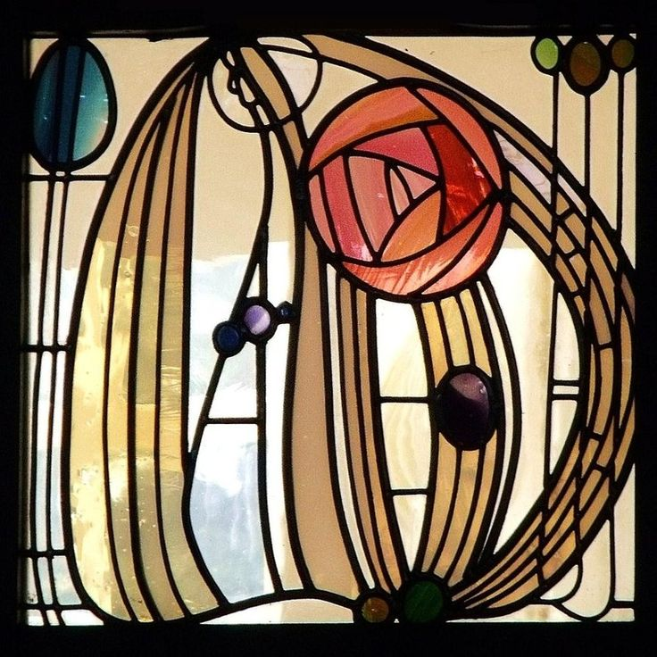 Charles Rennie Mackintosh stained glass, from the House for an Art Lover, Glasgow