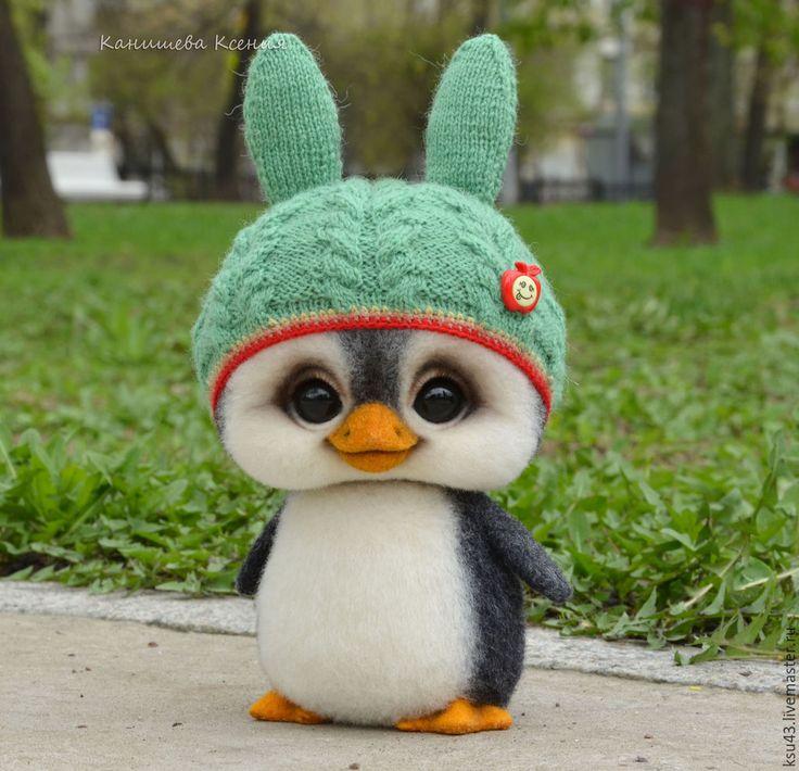 Купить Пингвин Митя - черный, пингвин, пингвины, пингвинчик, пингвиненок, пингвин игрушка, игрушка из шерсти