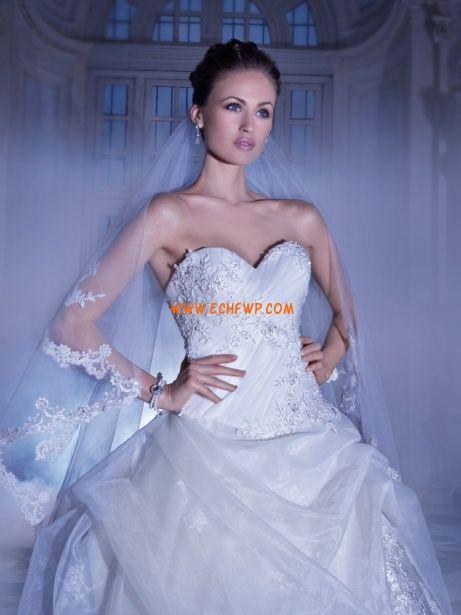 Jiskra a záře Organza Bez rukávů Svatební šaty 2014