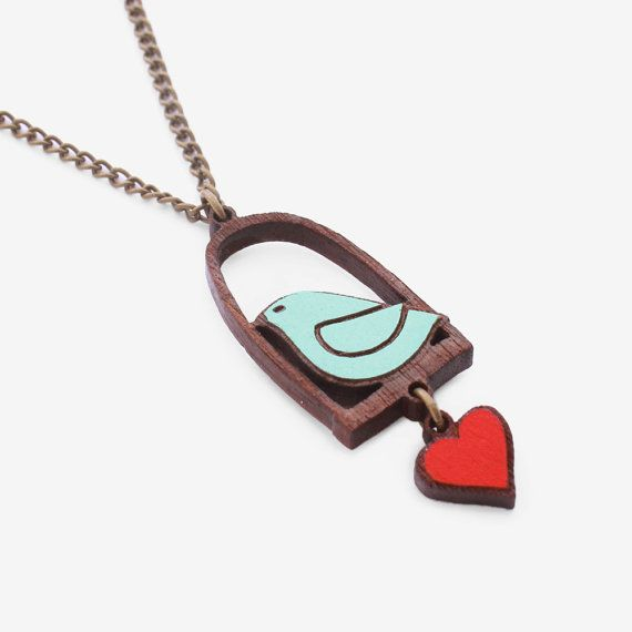 Bird and Love necklace Ahoy aqua by MANOLOjewellery on Etsy