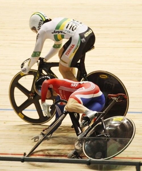 #trackcycling: Britain's Victoria Pendleton falls from her bike while competing against Australia's Anna Meares in the Women's Sprint semifinal at the 2012 UCI Track Cycling World Championships in Melbourne April 6, 2012. (via Photo from Reuters Pictures)