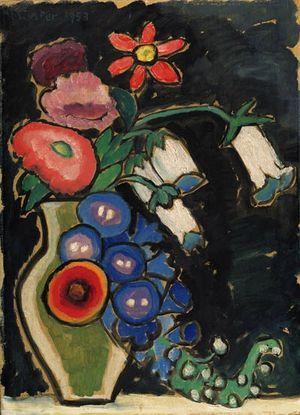 'Blumen auf Schwartzem Grund' (Flowers On Black Ground) (1953) by German Expressionist painter Gabriele Münter (1877-1962). Oil on board, 17 x 13 in. via the art stack