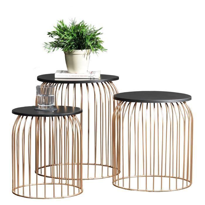 En Casa Panier Metallique En Kit De 3 Design Table D Appoint Table De Salon Cuivre Metal Table De Salon Panier Metallique Table De Chevet