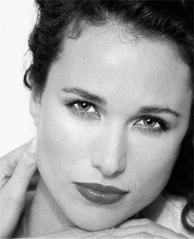 Andie MacDowell, an American model and actress. She has such a strong presence to her. LO