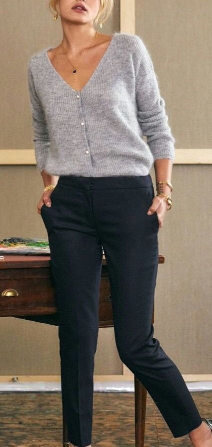 I love these pants for the office or school. The sweater is a shade of grey that I think looks good on me. I also like the flattering vertical ribbing. Plus, it looks like cashmere which is a plus.