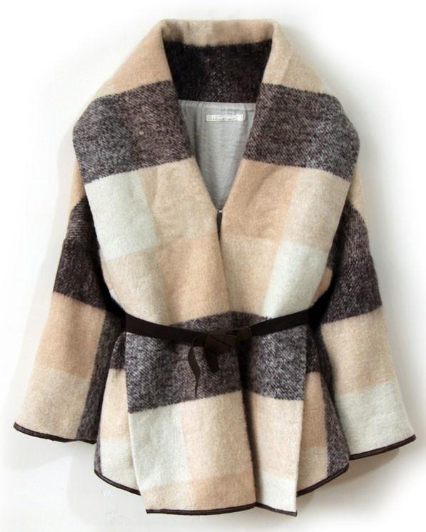 $103.50Fashion, Sleeve Wool, Closets, Coats Style, Coats 115, Long Sleeve, Polyvore Sets, Plaid Long, Wool Coats