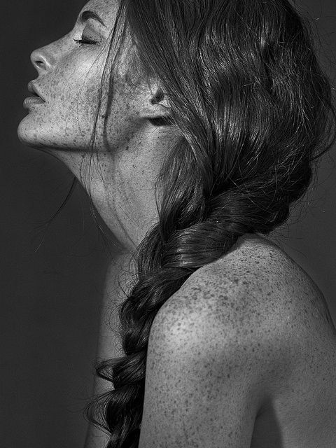 Freckles love long hair black white art model amazing