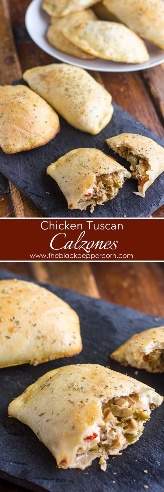 How to make Calzones - Chicken Tuscan Calzones via @blackpeppercorn