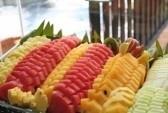 Di taglio piatto di frutta tropicale ananas anguria   stock photography