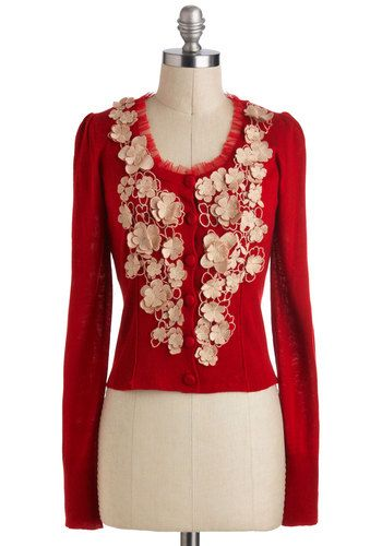 Free to Embellish Cardigan, #ModCloth Slightly too busy for my tastes but would look good less overdone and paired with Jeans