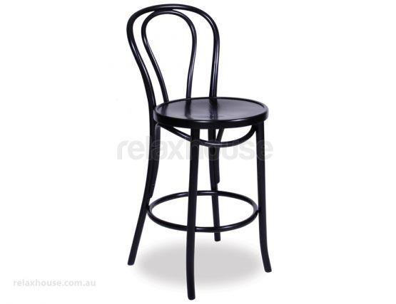 Superb Thonet Designed Black Vienna Bentwood Bar Stool Kitchen Dailytribune Chair Design For Home Dailytribuneorg
