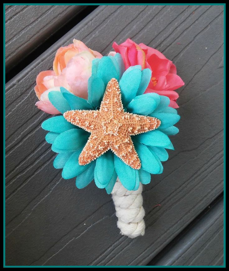boutonniere starfish Coral Teal Flower Bridal Bouquet groom sugar wedding pink blue aqua  florida tropical seashell beach