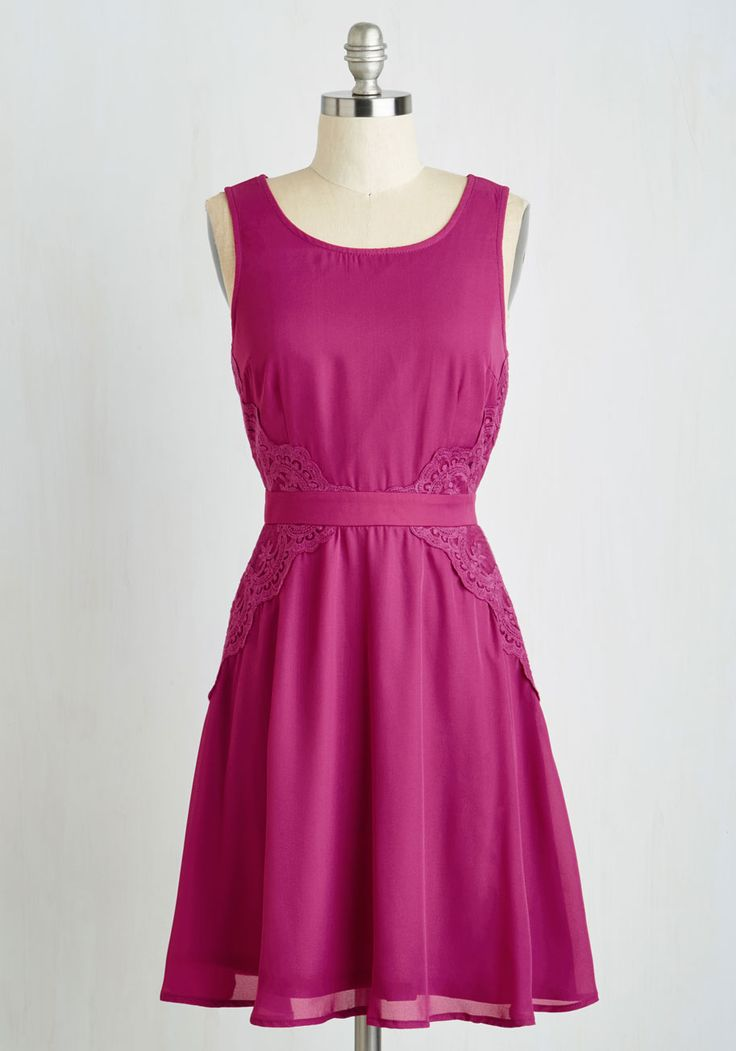 Name of the Fame Dress. When you step out in this breathtaking magenta dress, dont be surprised if you draw requests for photos and autographs! #purple #modcloth