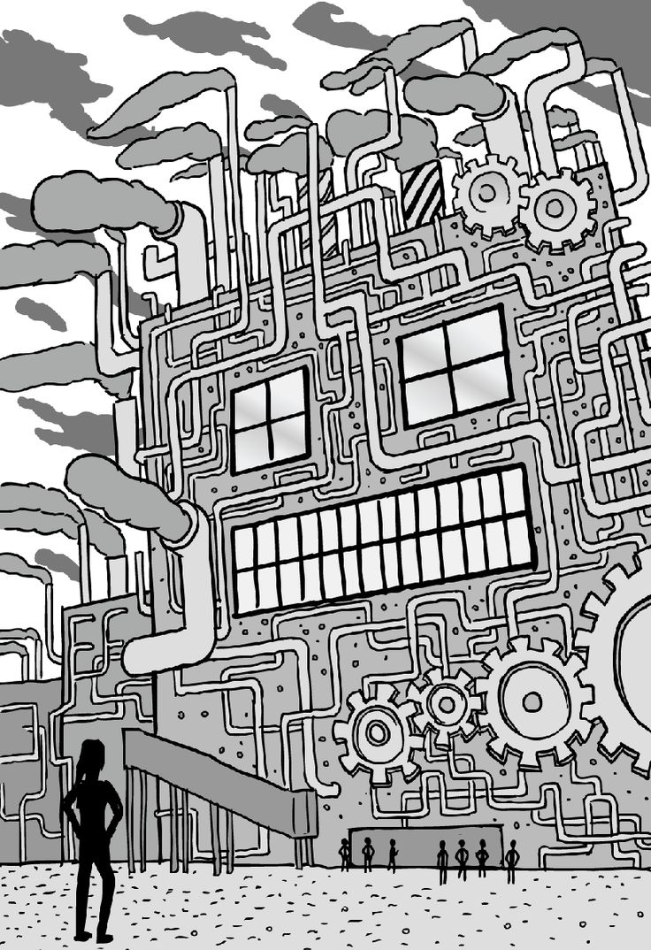 Low angle girl stands in front of 'machine'-like factory. A common metaphor used to imagine businesses/organisations. Image from Nick Barter and Stuart McMillen's comic Metaphors.
