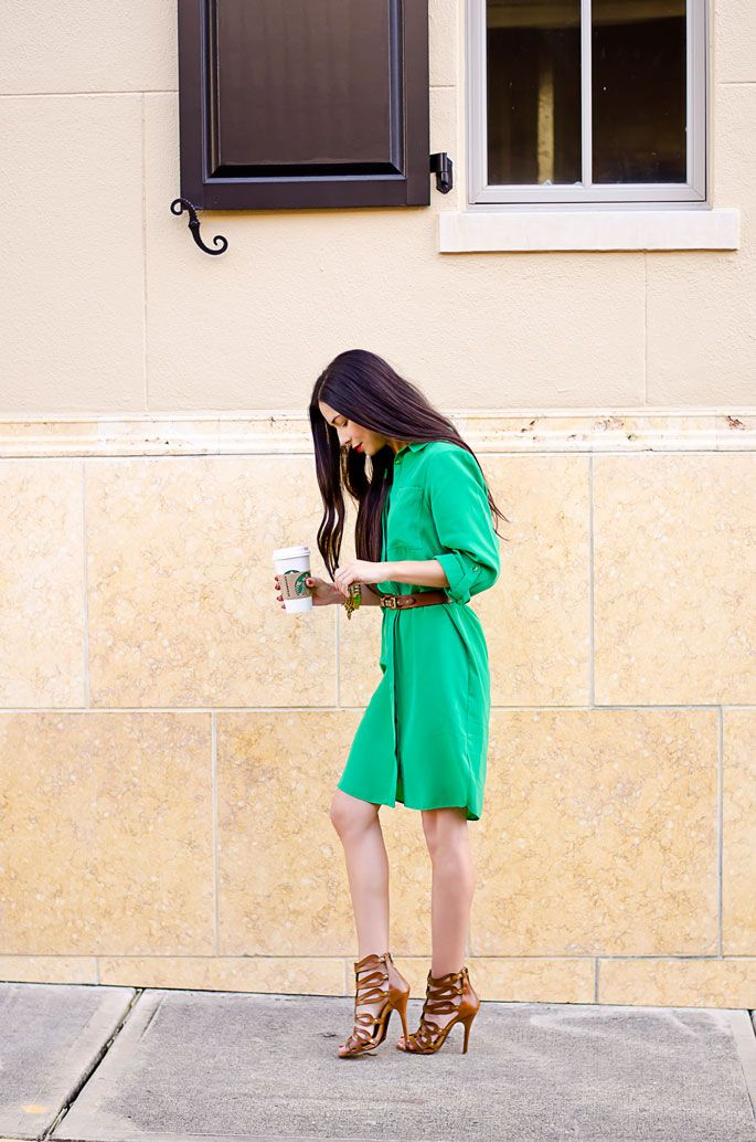 great street style green shirt dress  caged high heel sandals brown strappy shoes and belt