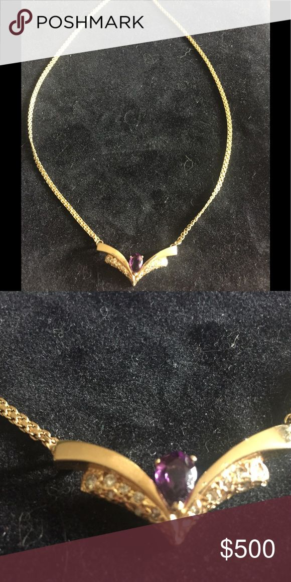 """Amethyst, diamond and 14k gold necklace... Beautiful amethyst, diamond and gold necklace. The pendant is a little over 1.5"""" across, and the chain length on each side of the pendant is 8"""" (approx. 16"""" total drop). Has a box clasp, with safety.  Total weight of the entire piece is 8 grams. There are approximately 7 diamond chips on each side of the pendant. Jewelry Necklaces"""