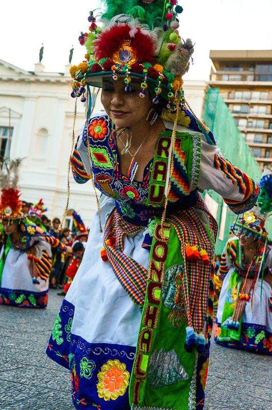 Dancing tinku at Fiesta de la Chakana in Santiago, Chile