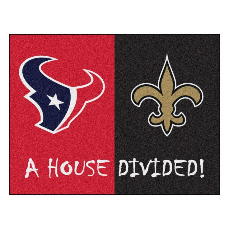 NFL Texans / Saints Red House Divided 2 ft. 10 in. x 3 ft. 9 in. Accent Rug, Red Black