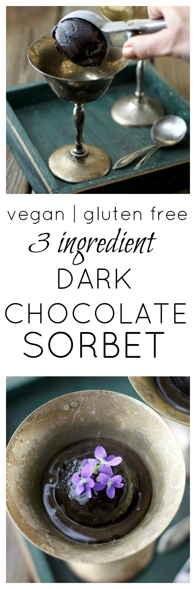 Need a last-minute Valentine's Day treat? 3 Ingredient Dark Chocolate Sorbet! Easy and delicious.