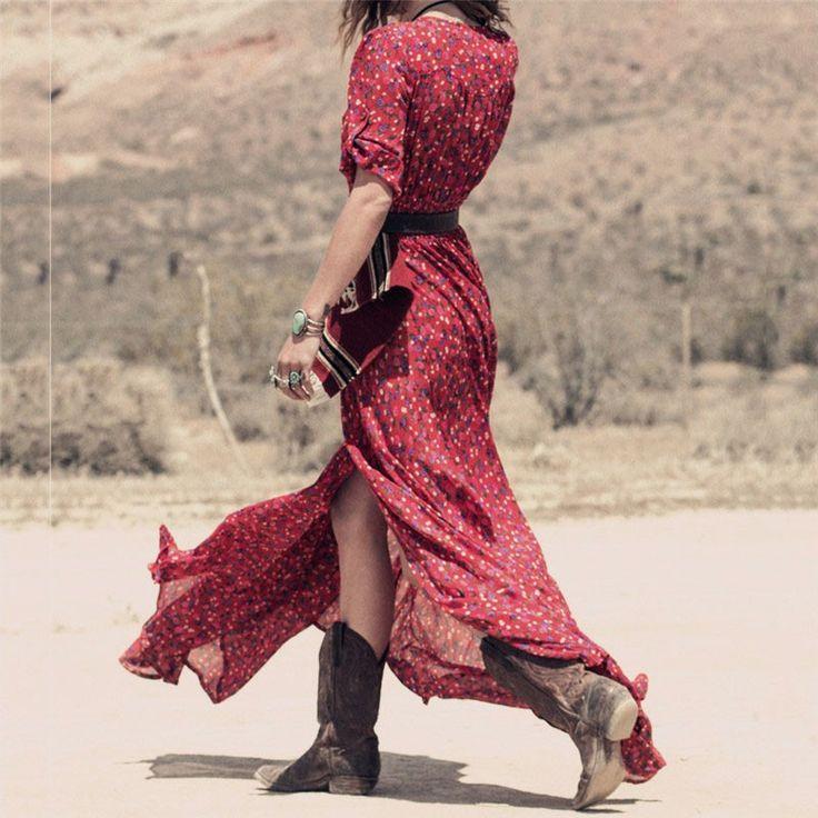 Плюс Размер Красный Длинные Платья Партии Zanzea 2016 Женская Мода Dress Casual Sexy V Шеи Поясом Сплит Макси Vestidos Boho стиль купить на AliExpress