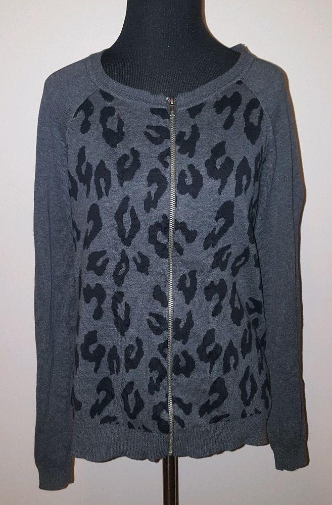 APT 9 Sz M Women's Gray Black Animal Print Long Sleeve Zip Up Sweater Jacket #Apt9 #FullZip