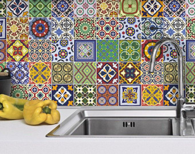 Talavera adesivi per piastrelle, adesivi per piastrelle messicani, cucina, bagno, 48 adesivi per piastrelle, SKU:TalaveraSpecialTiles