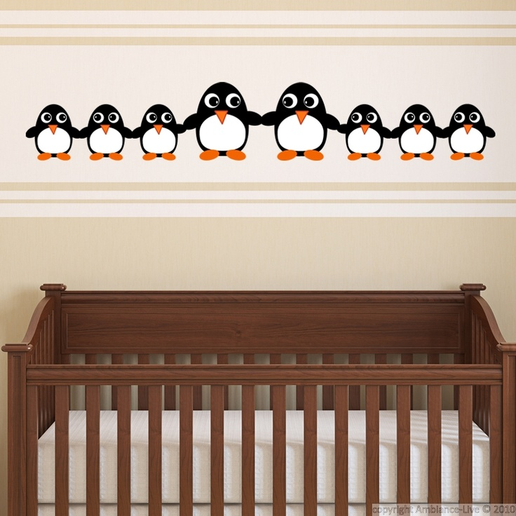This Funny Penguin Family #wall #decal can give you decorating ideas for the nursery. #stickers