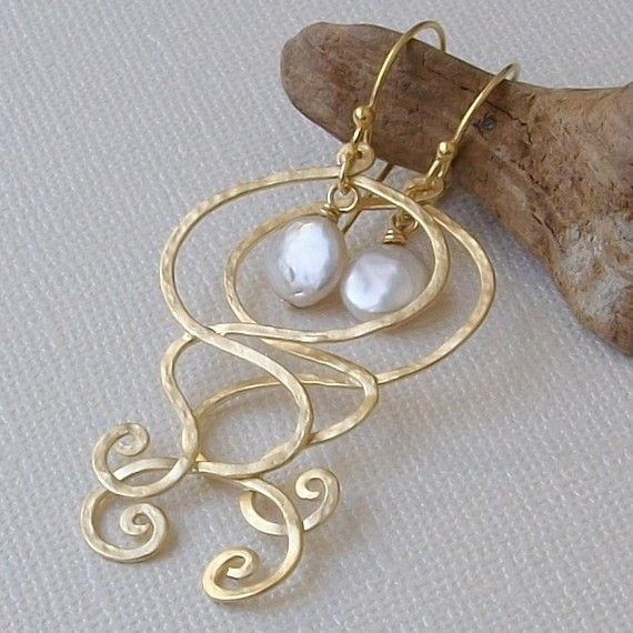 Pearl and Gold Earrings, Ocean Wave and Coin Pearl Gold Earrings on 24kt Gold Vermeil Earwires