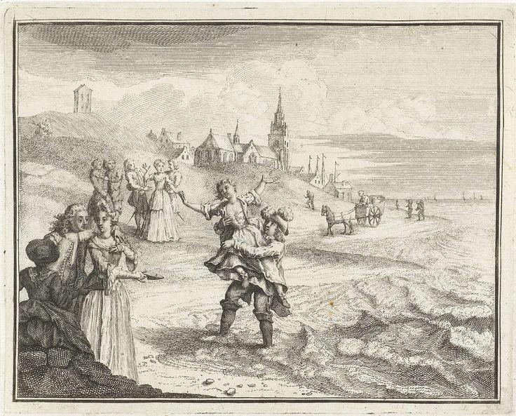 anoniem | Volksvermaak van het in zee dragen van de meisjes te Katwijk, ca. 1750, attributed to Adolf van der Laan, 1727 - 1729 | Volksvermaak in de meitijd van het vrijster inzouten of dopen te Katwijk, ca. 1750. Een jongeman draagt zijn vrijster op het zeestrand in het water, om haar hierna in het water te dompelen en daarna door het zand te rollen.