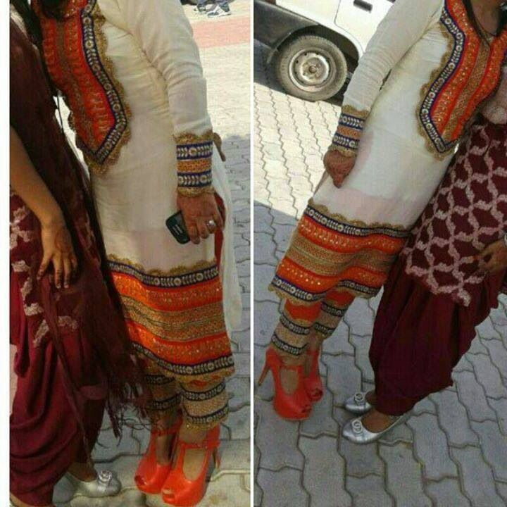 Gorgeous punjabi suit, white and orange.
