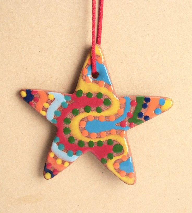 Etsy Transaction - Red Clay Star Ornament Both Sides Are Decorated With Glaze