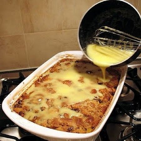 Grandmas Old-Fashioned Bread Pudding with Vanilla Sauce......when you go to the pin click on the word bread pudding to go to the recipe....