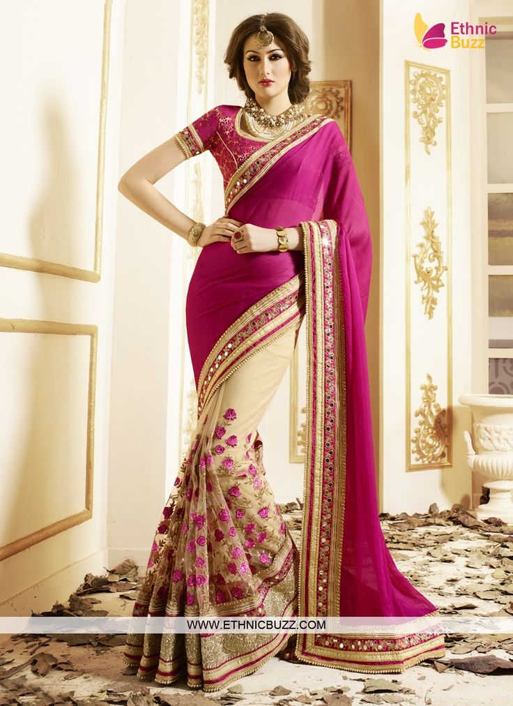 Forever Dark Pink Border Patch Work Designer Saree